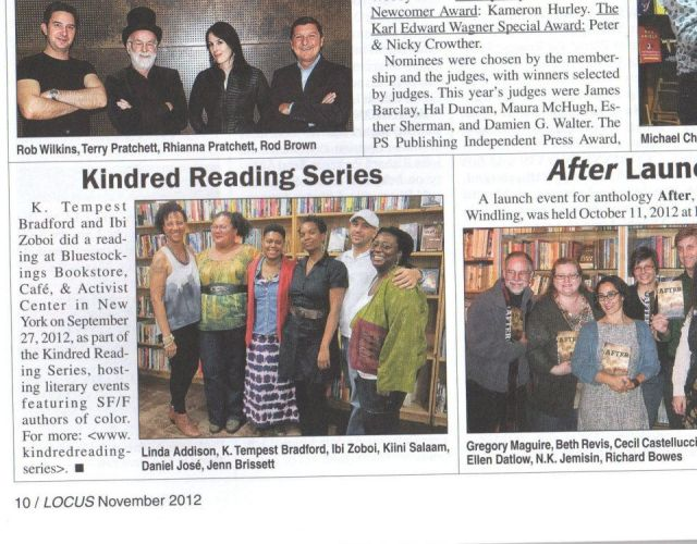 Kindred Reading Series in Locus 2012-11