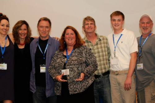 Elizabeth and other award winners at Woods Hole International Film Festival, with festival Director Judy Laster in the center.