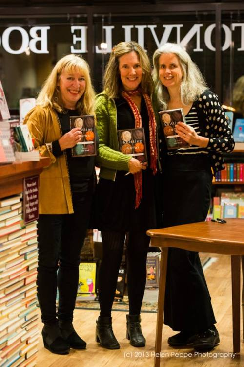 Knitting Yarns contributors Marianne Leone, Elizabeth Searle, and Suzanne Strempek Shea at the Knitting Yarns book launch at Newtonville Books on Nov. 9th; photo by Stonecoast alum, Helen Peppe