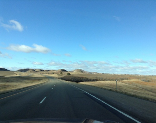 the North Dakota highway leading into the Badlands.