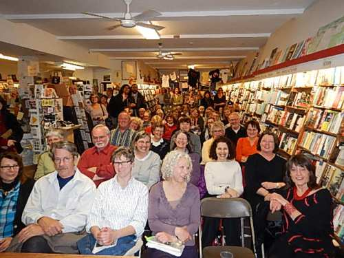 Author's-eye view of Broadside Bookshop launch of 'This Is Paradise.' Stonecoaster scan starts with Lisa Taylor in front row and former faculty member Leslea Newman in second row.