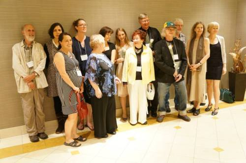 Alexandra Oliver with  winners and nominees at the League of Canadian Poets Awards Gala, Toronto, June 7th, 2014.