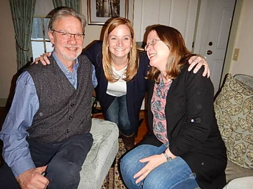 Ted Deppe and Annie Deppe reunite with Stonecoast grad and Stonecoast Ireland participant Melanie Brooks at Bay  Path University in Longmeadow, MA.