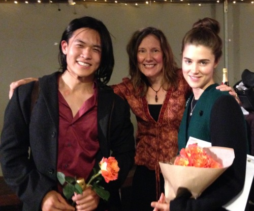 Elizabeth with stars Kenny Leu and Lucy Griffiths in Hollywood at Zephyr Theater